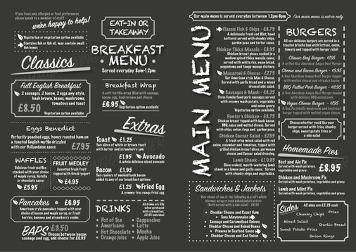 Retro Pub Menu - Inside Spread