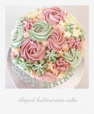 rose swirl flower buttercream cake