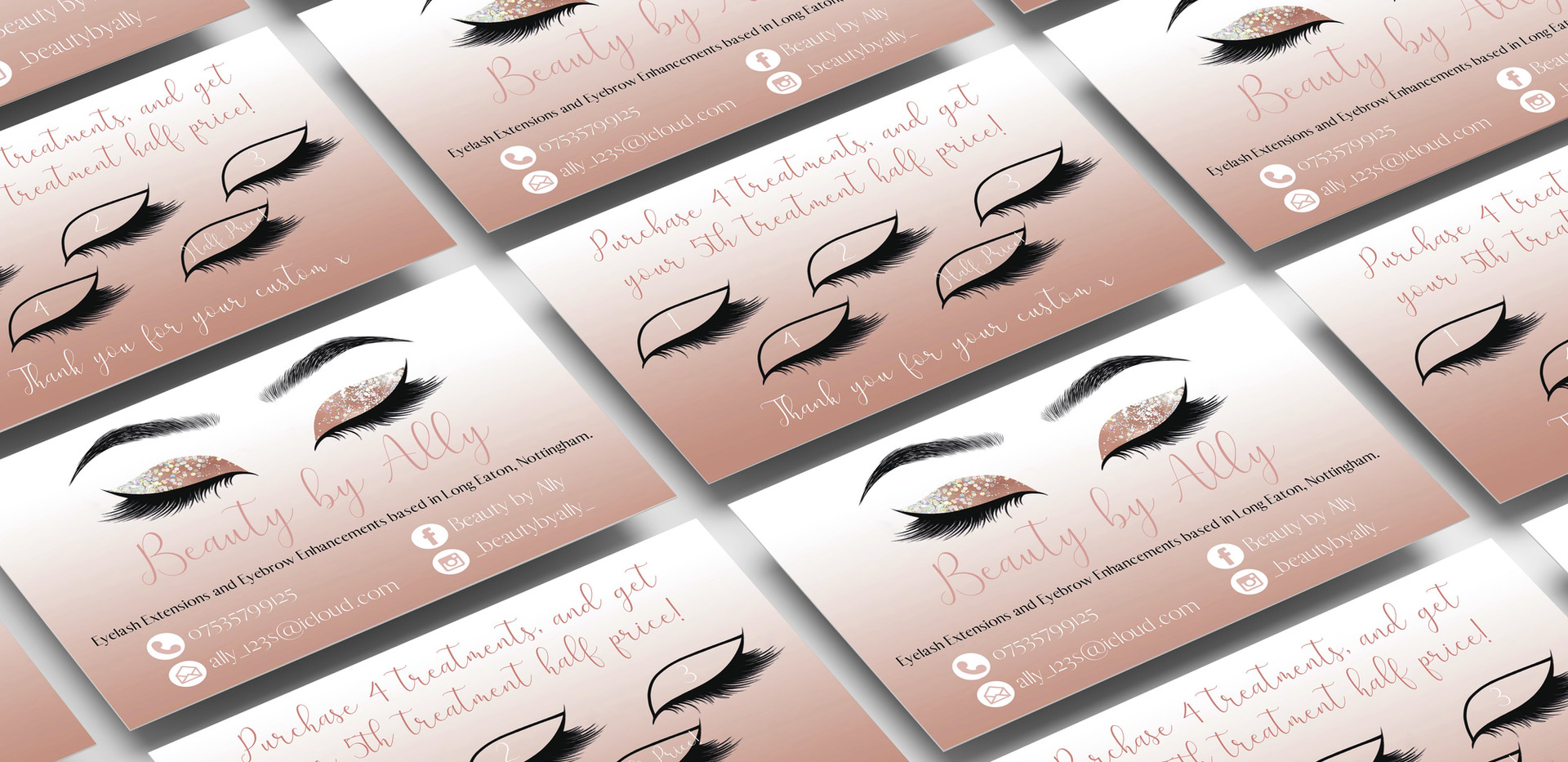 Beauty by Ally Business and Loyalty Card Design