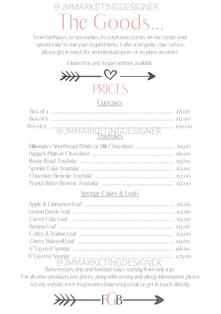Price List For Goodness Bakes