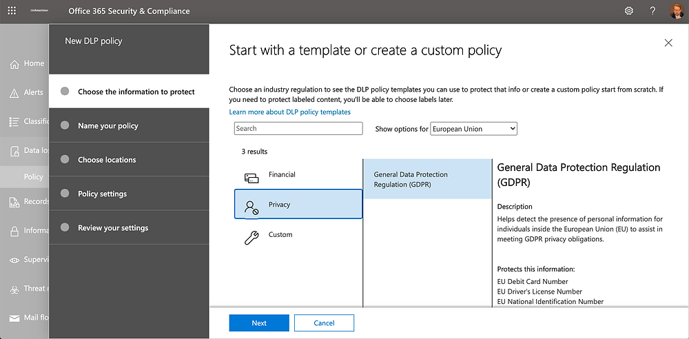 DLP to automate Office 365 compliance