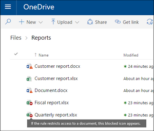 Microsoft Office 365 Sensitivity labels in OneDrive example