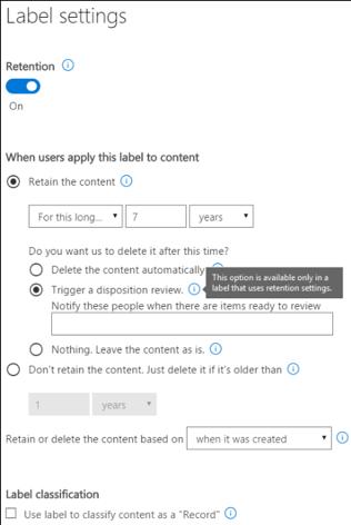 Microsoft Office 365 Label Settings