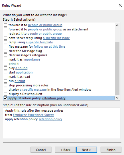 Set auto rules for email records in M365