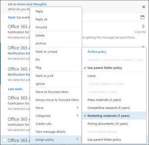 Records management in Office 365 for email