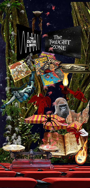 collage of strange objects,