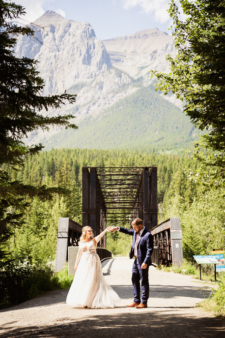The Canmore Engine Bridge is the best location for wedding photos in Canmore