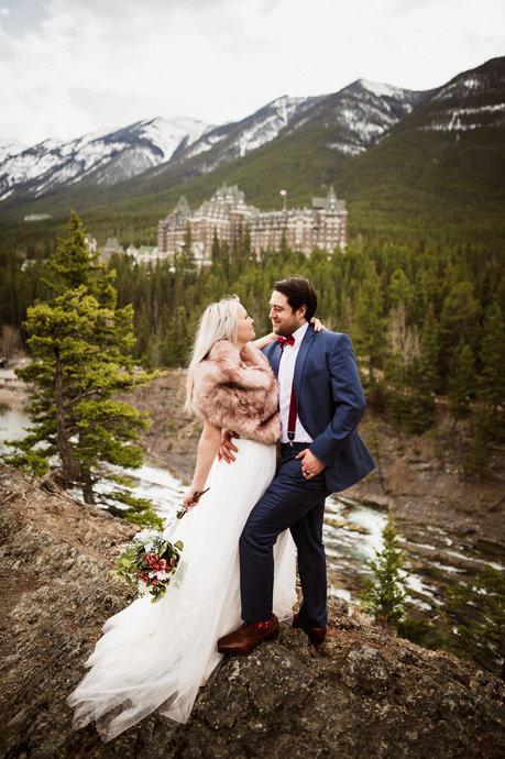 Banff elopement photographer at Surprise Corner