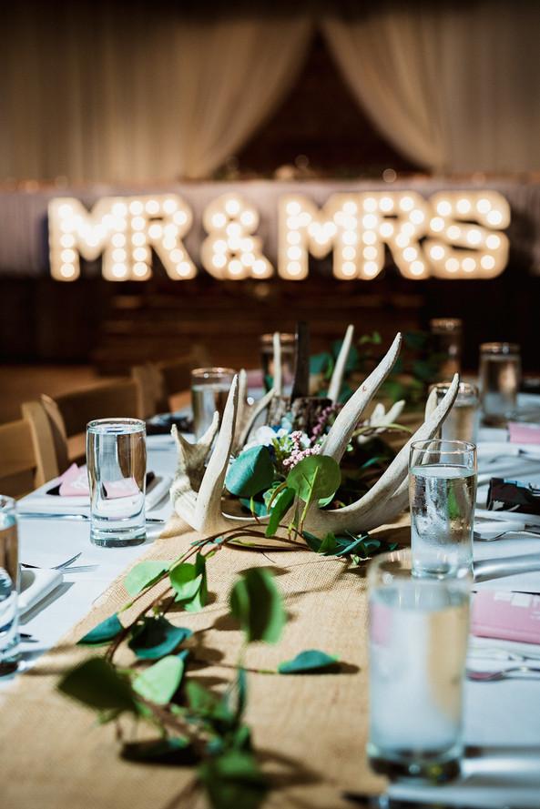 Cornerstone Theatre wedding reception table details