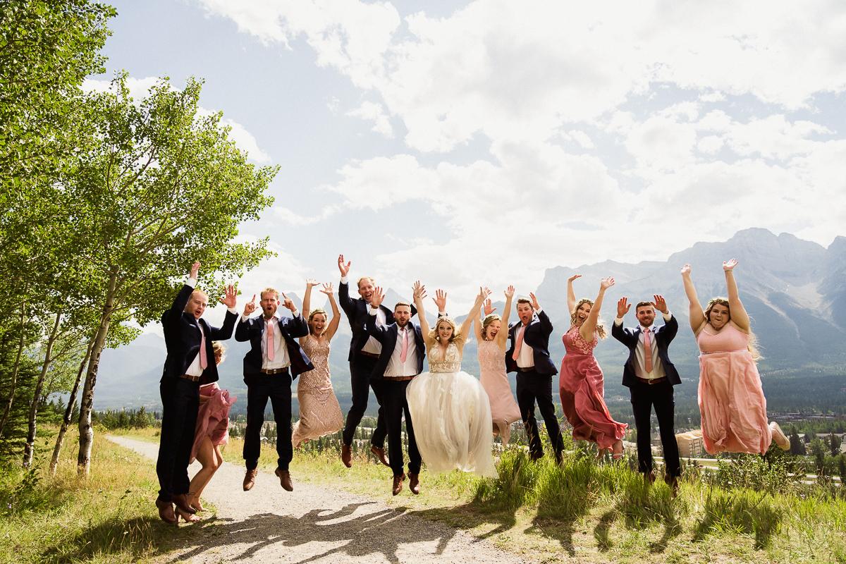 Fun wedding party photos in Canmore