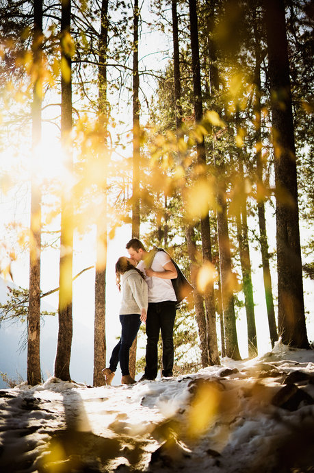 Adventurous engagement photos in Banff