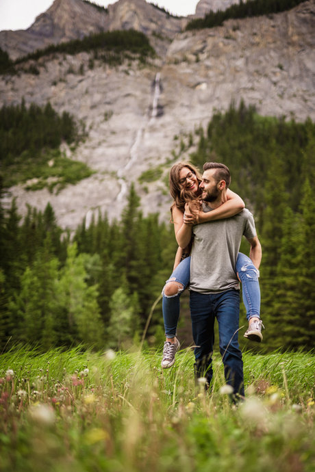 Banff field and waterfall engagement photos