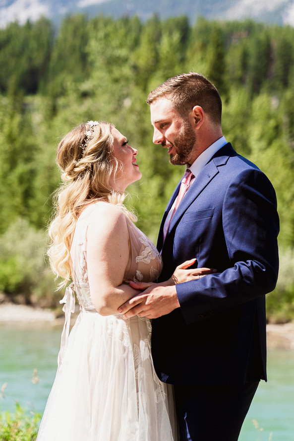 Bride and groom's emotional first look at Canmore Engine Bridge