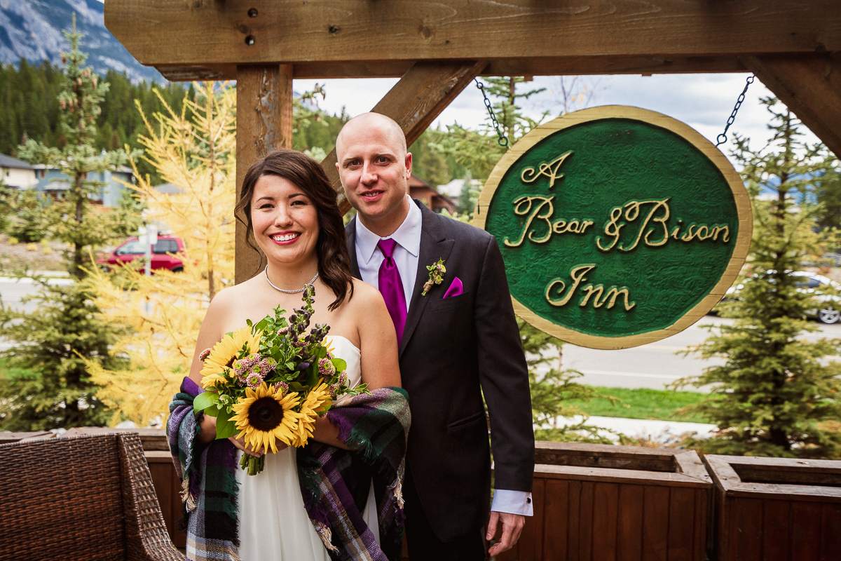 Canmore elopement photographer at A Bear and Bison Inn