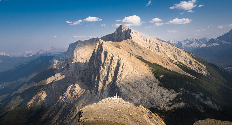 Incredible mountaintop Canmore elopement photography