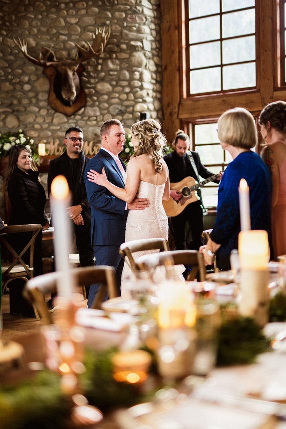Wedding reception at Emerald Lake Lodge Cilanto Cafe winter wedding