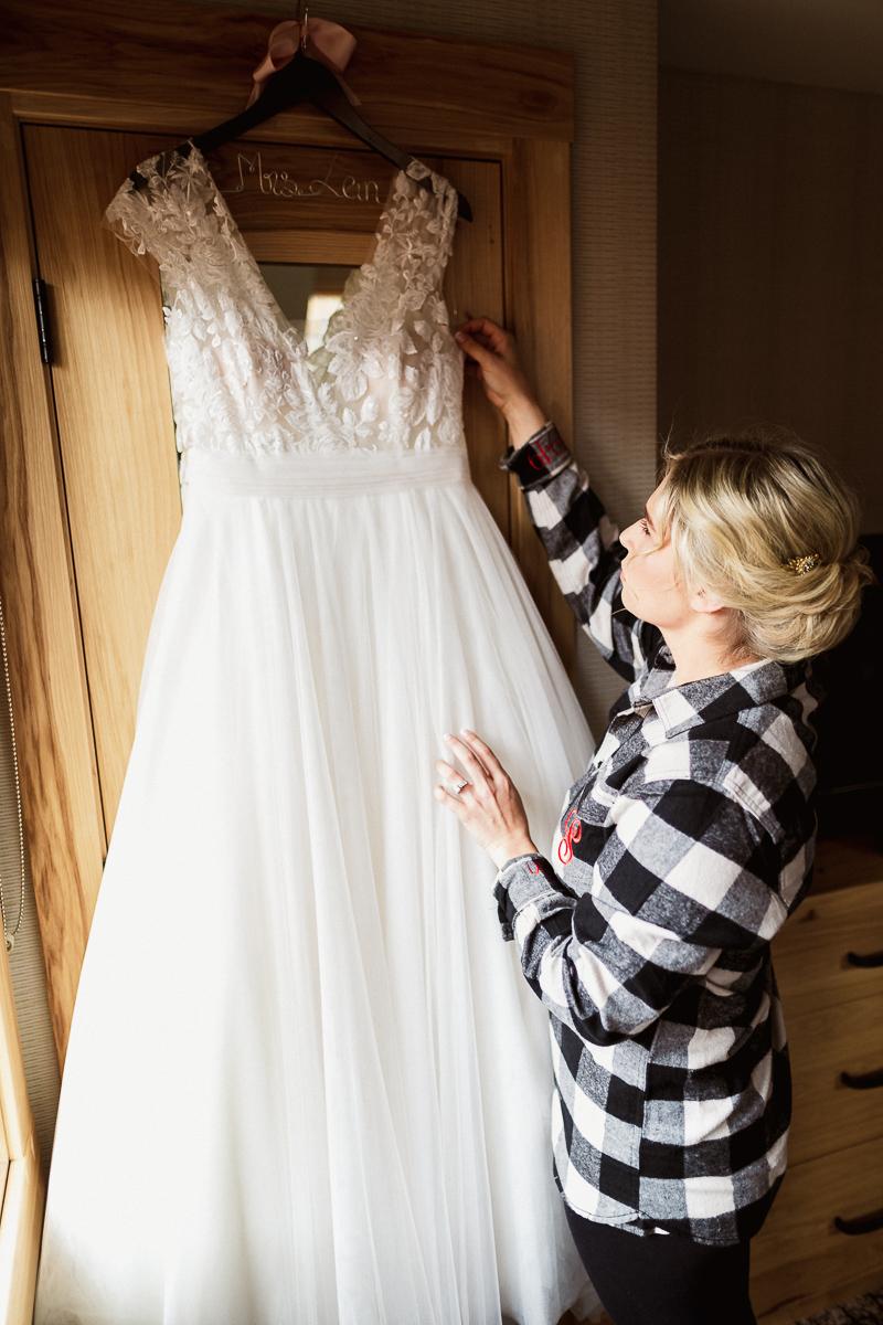 Bride getting ready for Banff Park Lodge wedding in Banff