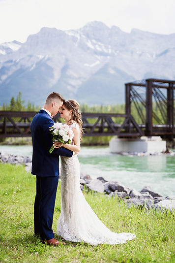 Canmore elopement photographers at the Engine Bridge