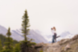 Adventure engagement session in Kananaskis with an outdoorsy couple in the mountains