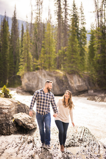 Candid engagement photos in Banff and Canmore