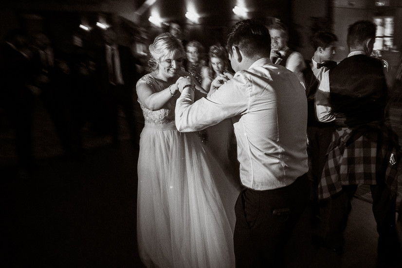 Bride and groom dance at Banff Park Lodge reception