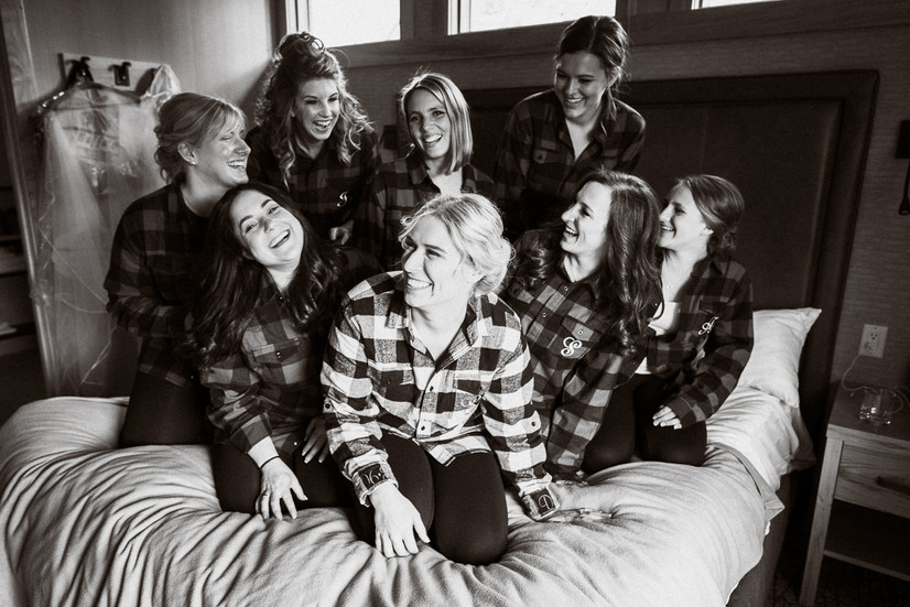 Bride and Bridesmaids photographed by Banff wedding photographer