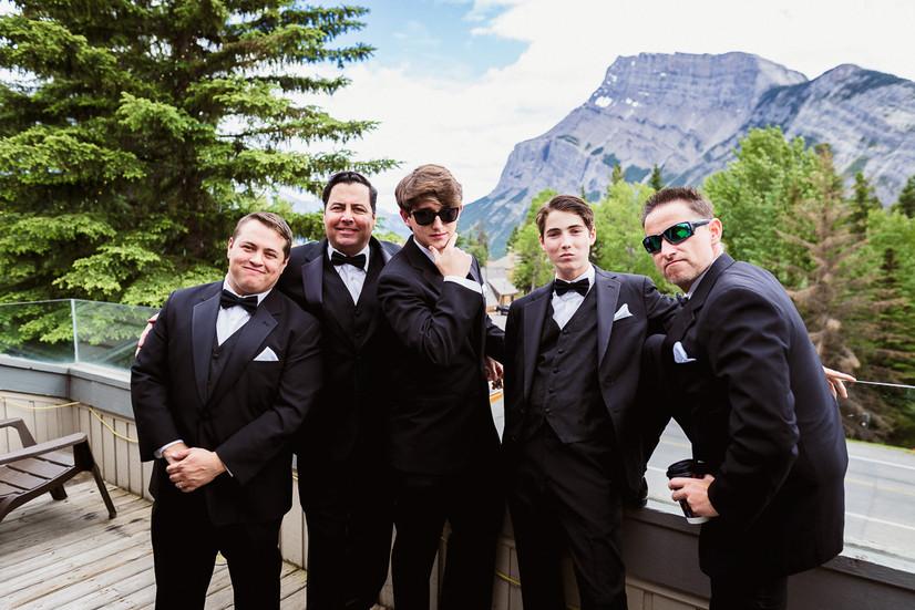 Groomsmen getting ready for Banff Park Lodge wedding