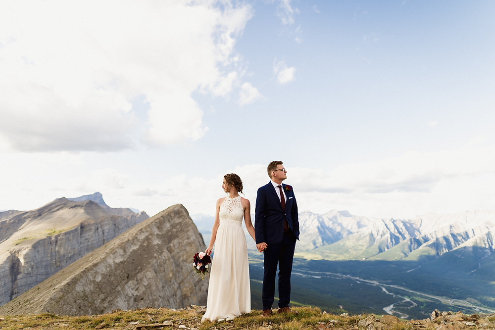 Adventure elopement photography in Banff mountain top
