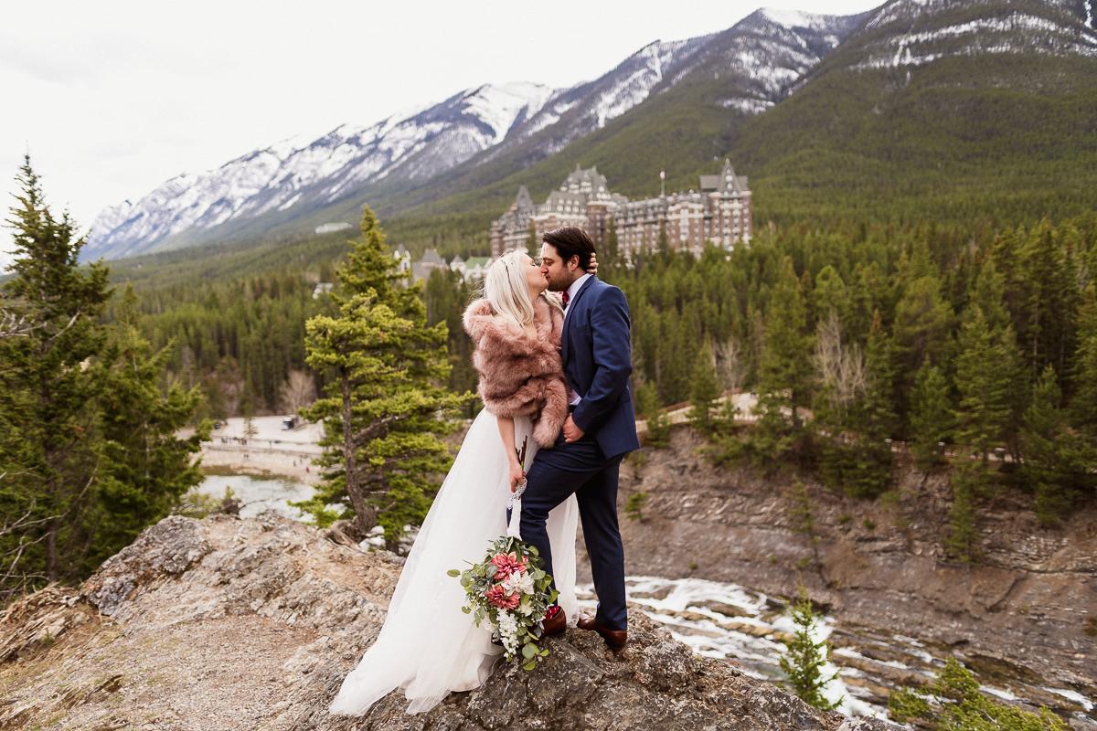 Beautiful Banff elopement at Surprise Corner