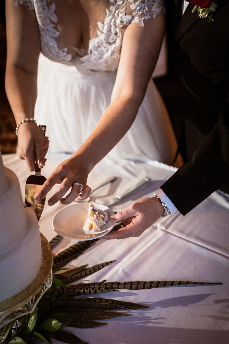 Cake cutting at Banff Park Lodge wedding