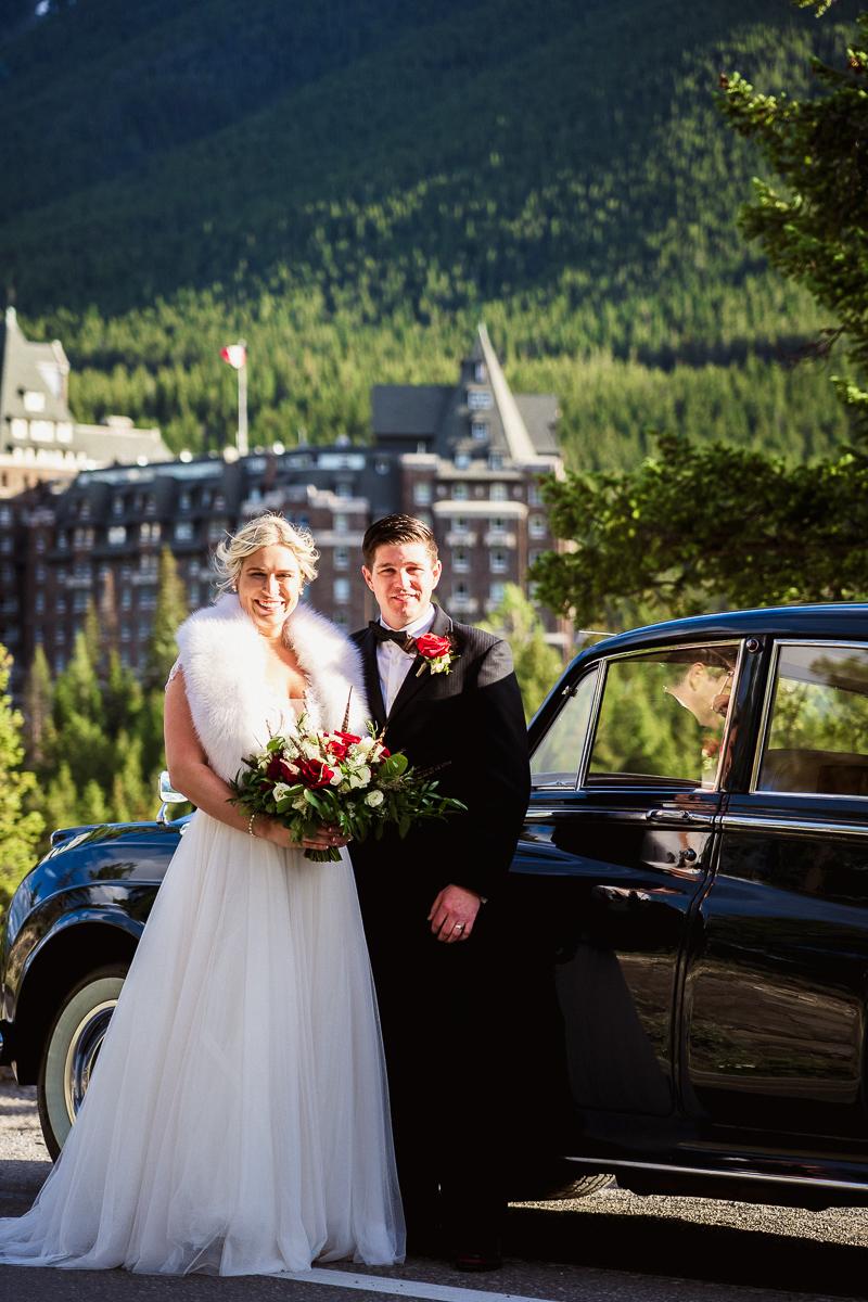 Surprise corner wedding photos in Banff