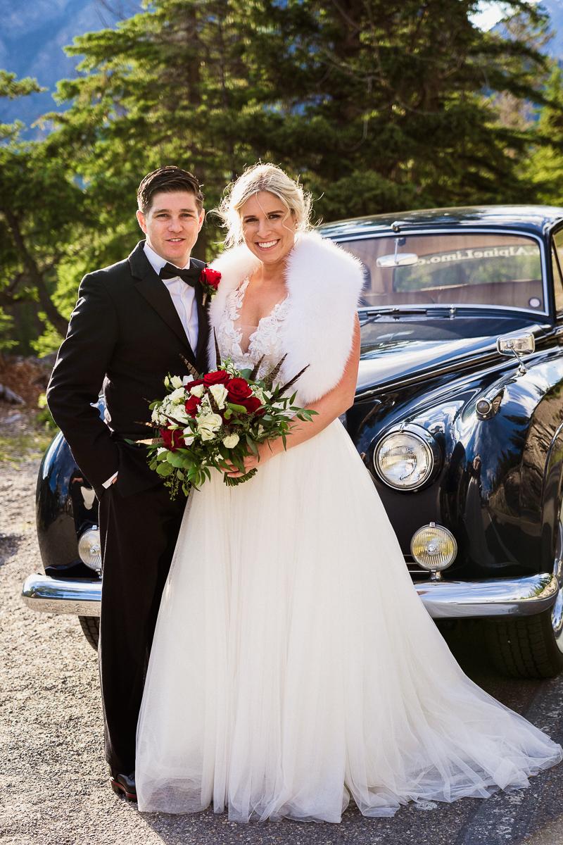 Bride and groom portraits at Surprise Corner Banff