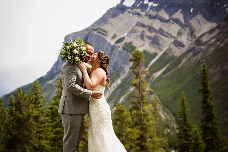Mountains and forest at this Tunnel Mountain Reservoir wedding