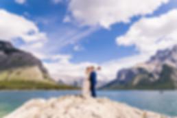 Banff elopement photographer at Lake Minnewanka