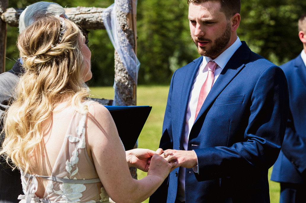 """""""I Do"""" at Cornerstone Theatre wedding ceremony at Canmore Ranch"""