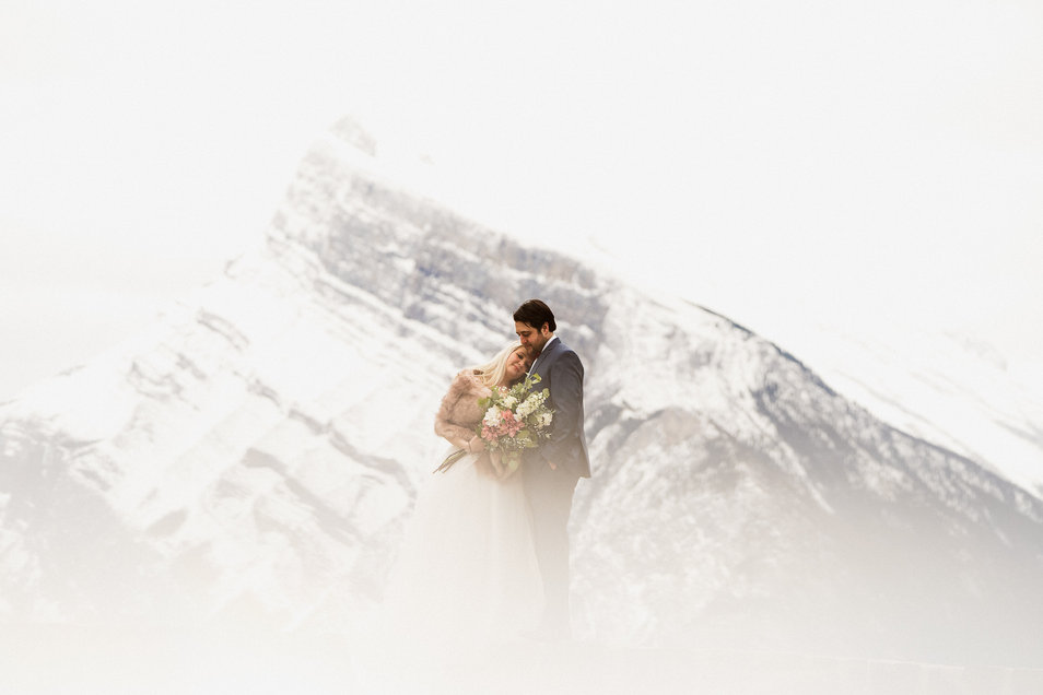 Above the clouds at this Banff elopement photography shoot near Mount Norquay