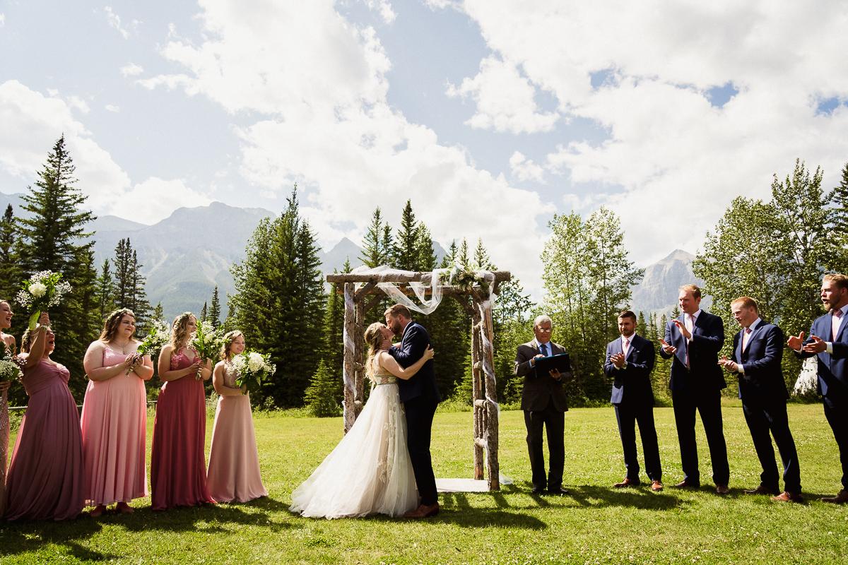 First kiss at Cornerstone Theatre wedding ceremony