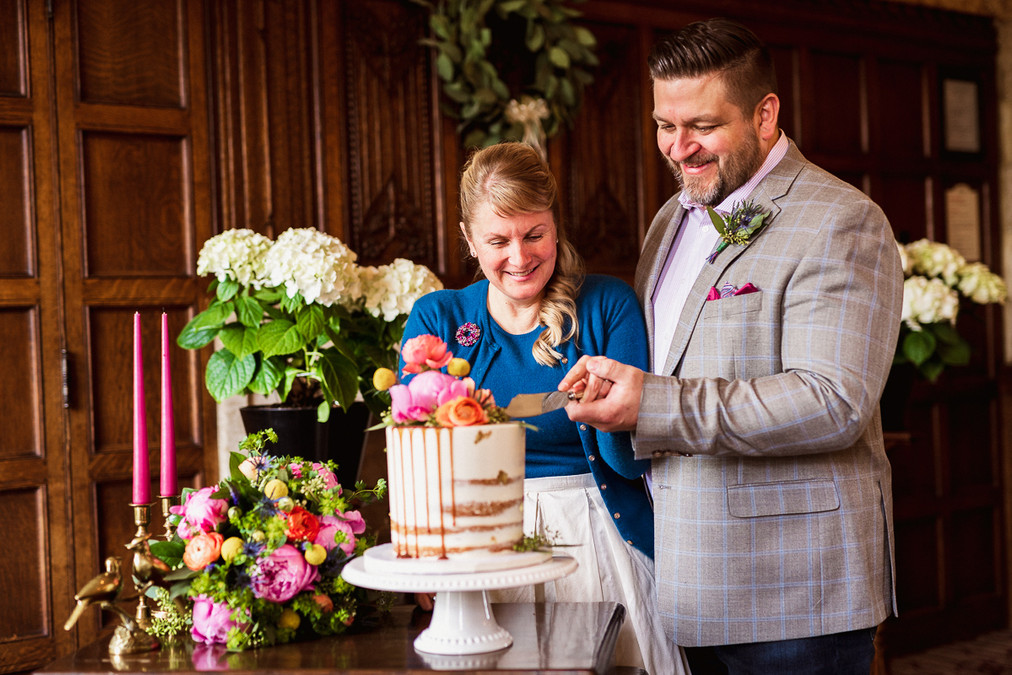Cake cutting at Fairmont Banff Springs Hotel elopement