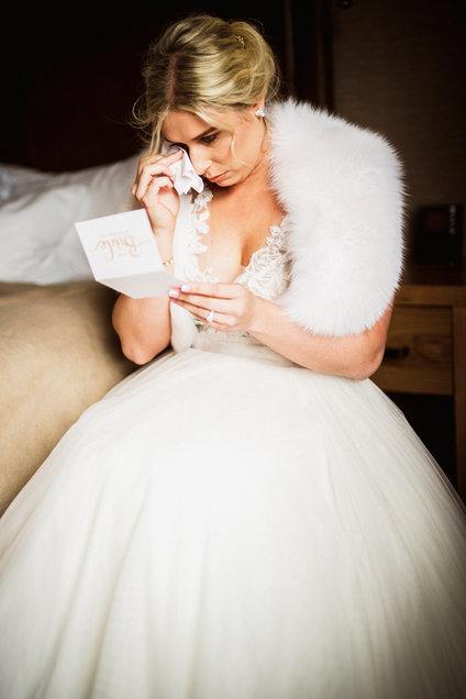Tearful candid moment by Banff wedding photographer Alex Popov Photography