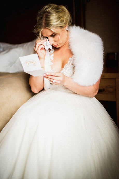 Tearful candid moment by Banff wedding photographer Alex Popov Photography