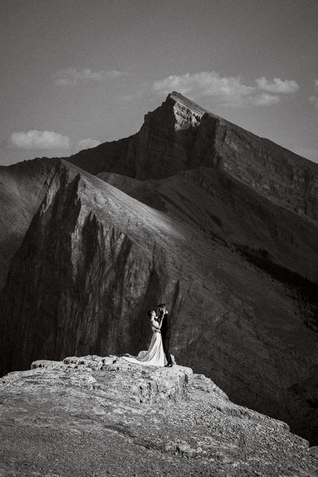 Mountain top wedding photography in Canmore and Banff