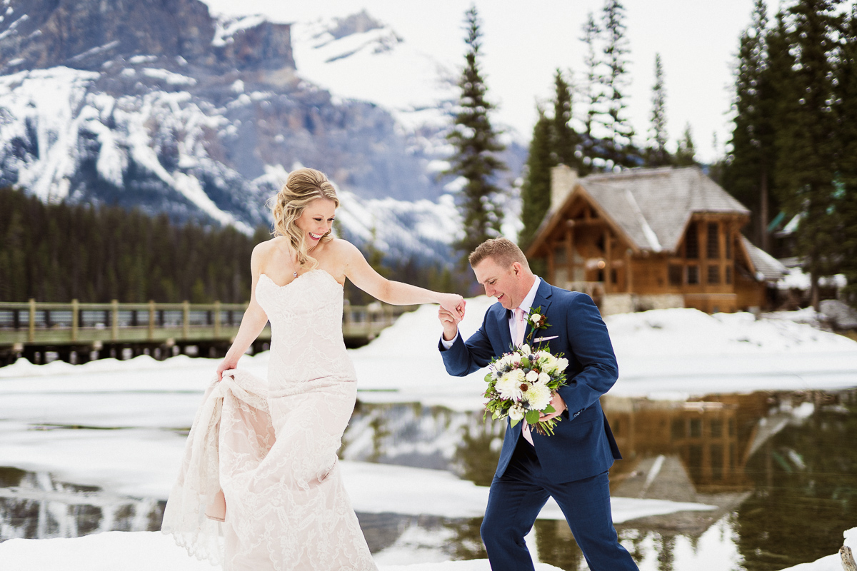 Candid moment at Emerald Lake wedding