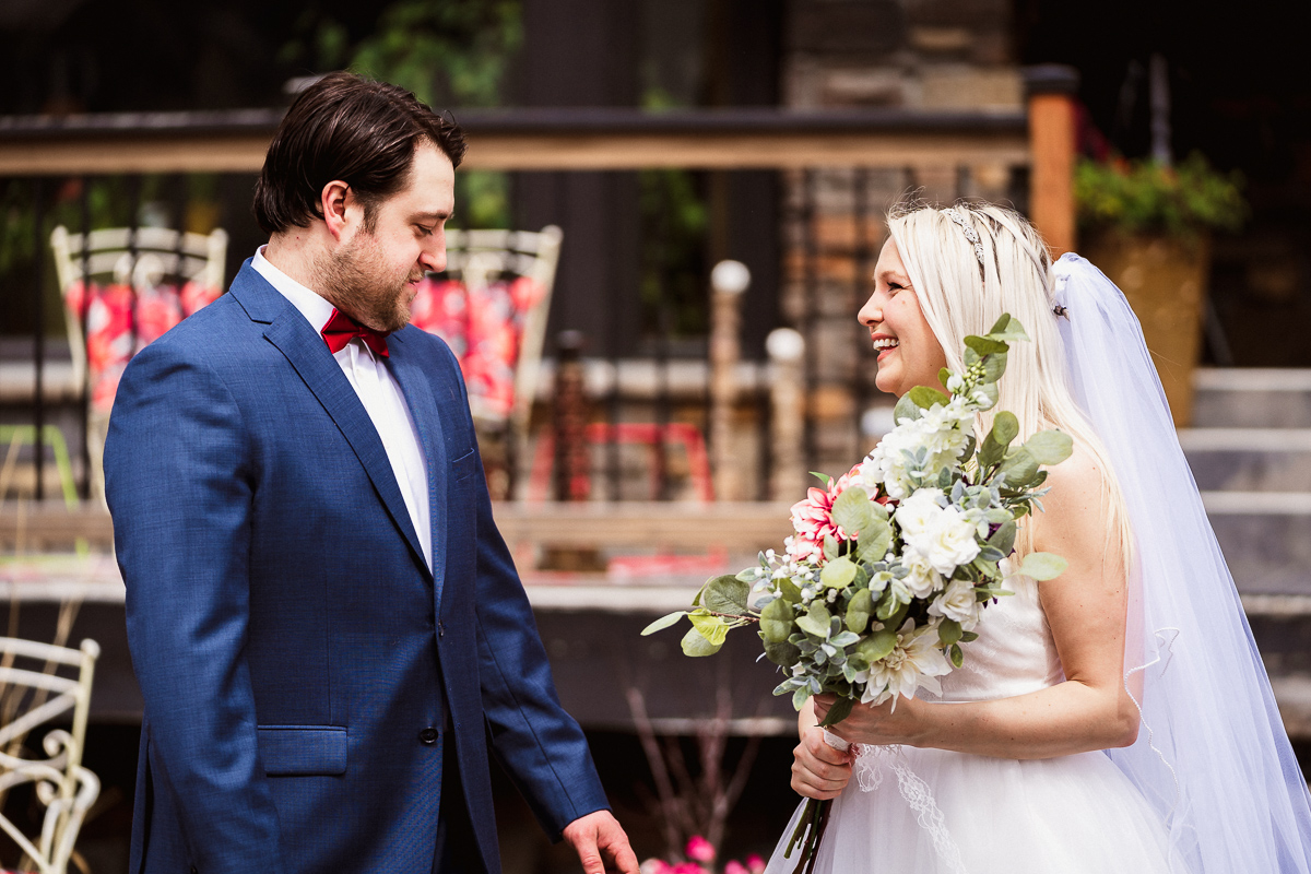 First look at outdoor Banff elopement photography
