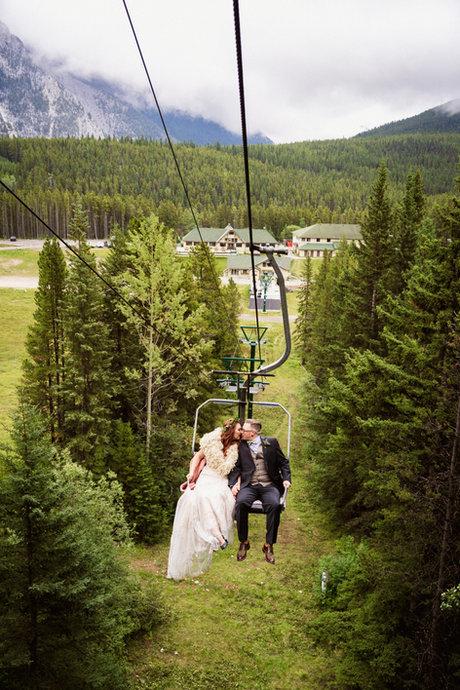 Mount Norquay chairlift wedding photos