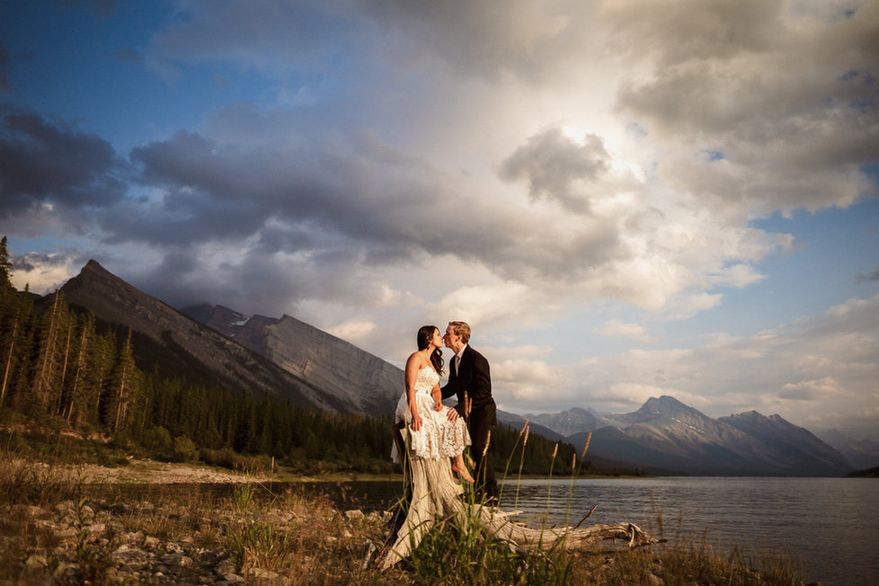 Sunset at this hiking engagement photography session in Banff