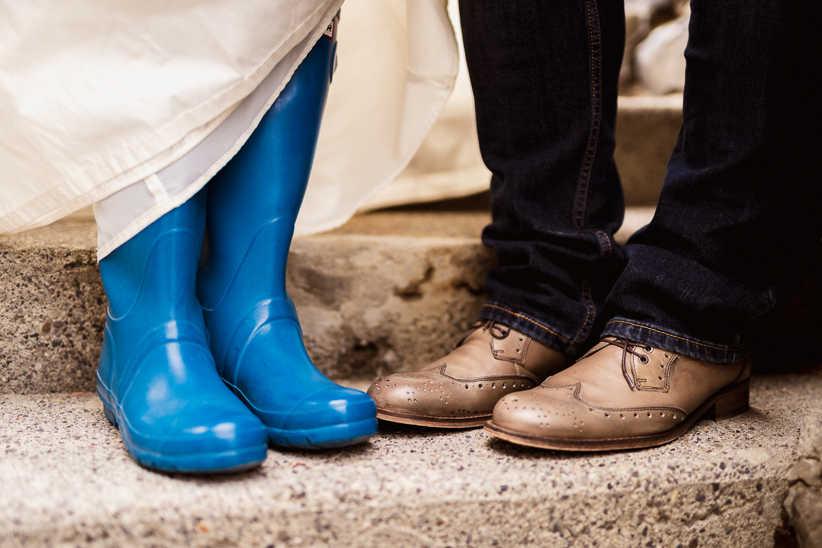 Funny photo of wedding shoes at Fairmont Banff Springs Hotel elopement