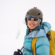 Skiing with Canmore wedding photographers Alex and Cat