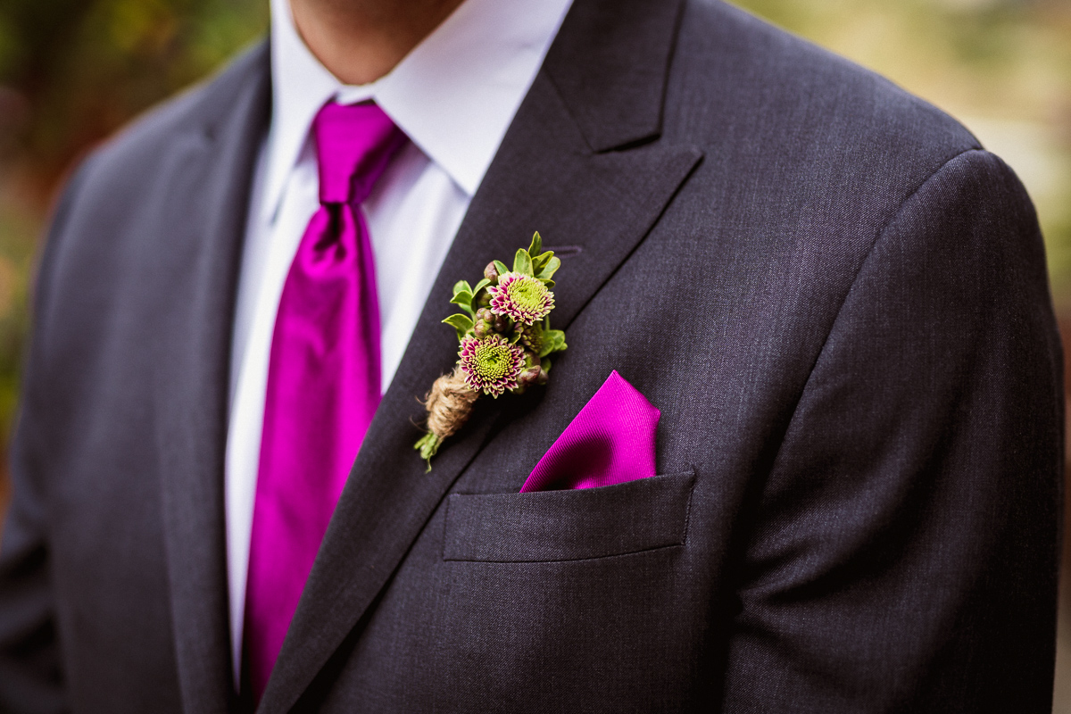 Groom and boutonniere at Canmore elopement