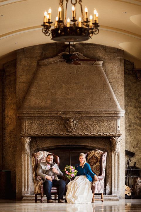 Fairmont Banff Springs Hotel elopement photography in front of fireplace
