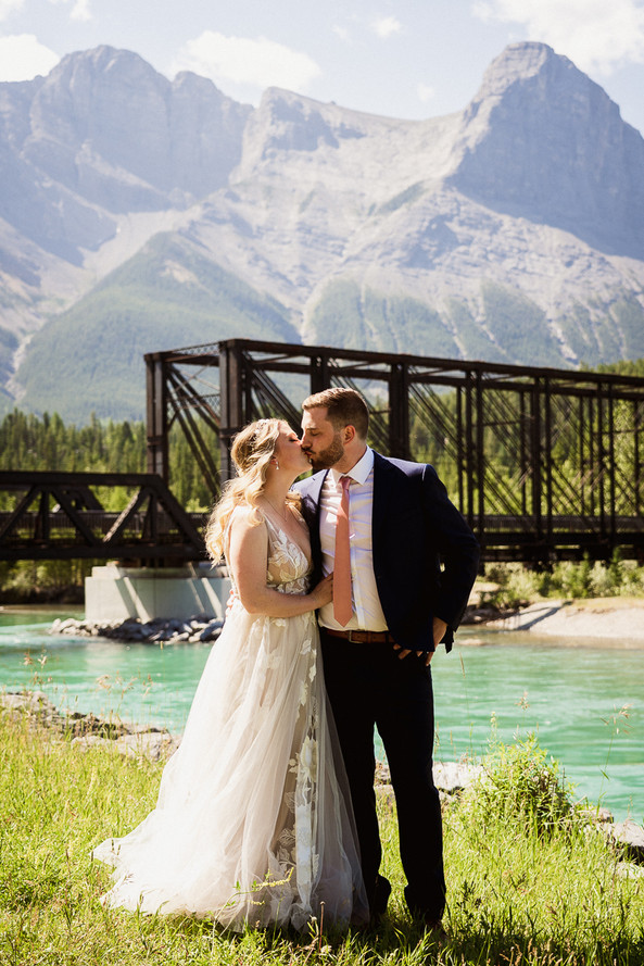 Bride and Groom's portrait in front of the Engine Bridge during their Cornerstone Theatre wedding